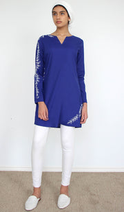 Kismet Embroidered Long Modest Tunic - Royal Blue
