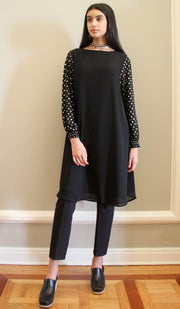 Komal Gold Embellished Long Modest Tunic - Black