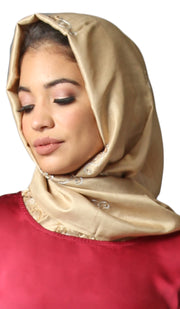 Layla Hand Embroidered Silk Wrap Hijab - Beige Gold
