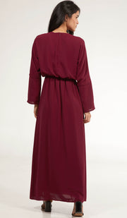 Lamees Simple Elastic Waist Modest Maxi Dress Abaya - Maroon