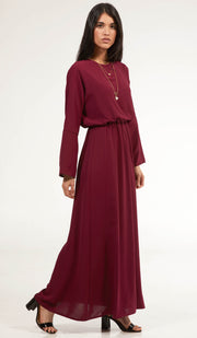 Lamees Simple Elastic Waist Modest Maxi Dress - Maroon