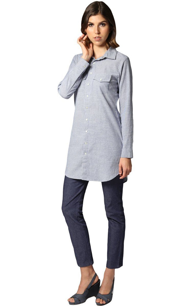 Lana Long Striped Button-down Shirt - Navy