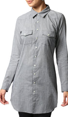 Lana Long Gingham Button-down Shirt - Black