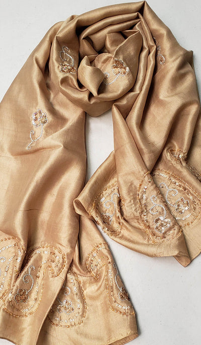 Layla Hand Embroidered Silk Wrap Hijab Scarf - Beige Gold