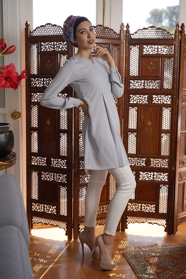 Leah Long Modest Tunic Dress - Silver Mist - PREORDER