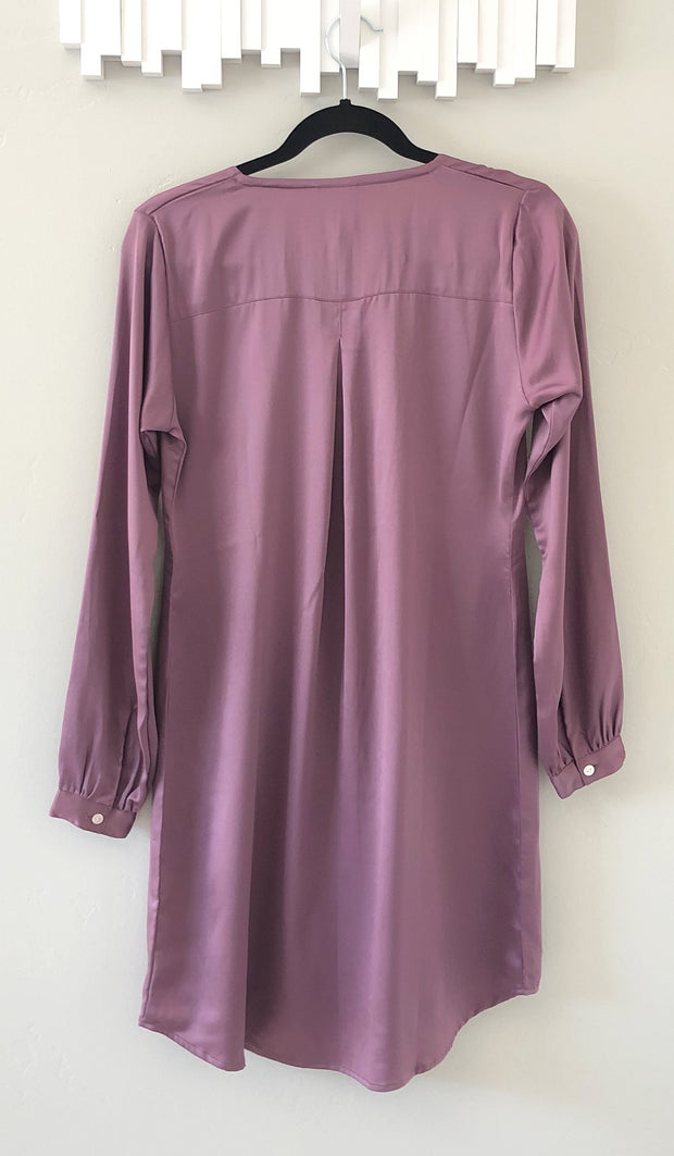 Leah Silky Formal Long Modest Tunic Dress - Lavender