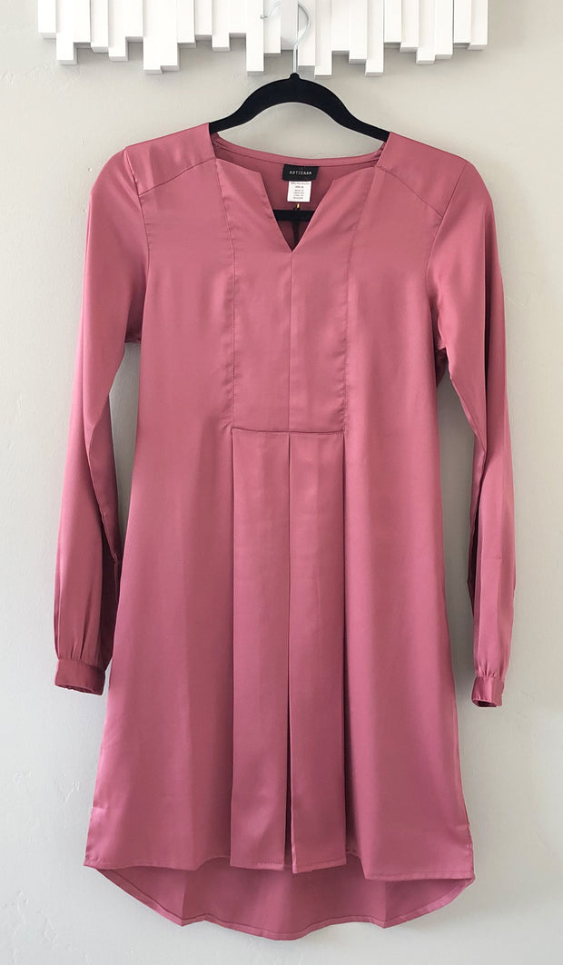 Leah Silky Formal Long Modest Tunic Dress - Vintage Rose