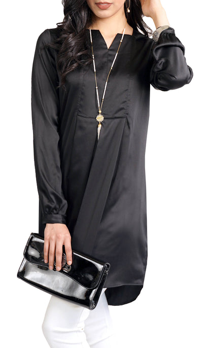 Leah Silky Formal Long Modest Tunic Dress - Black