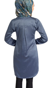 Leah Silky Formal Long Modest Tunic Dress - Blue Shadow