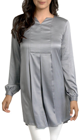 Leah Silky Formal Long Modest Tunic Dress - Gray Pearl