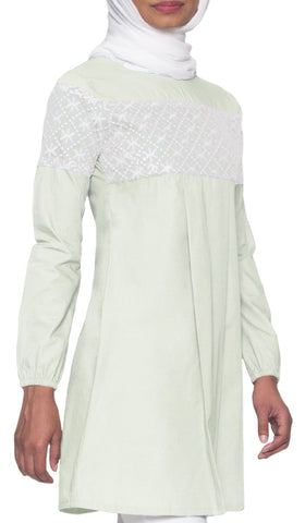Leena Long Lace Accent Fine Cotton Tunic - Ice Green