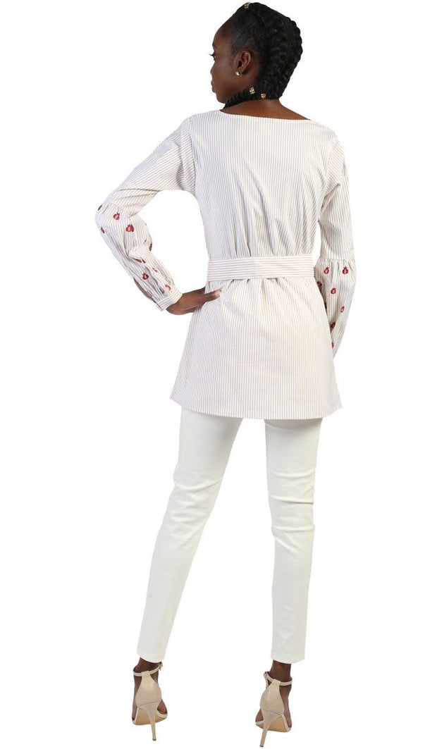 Lena Long Pin Stripe Embroidered Sleeve Tunic - Beige