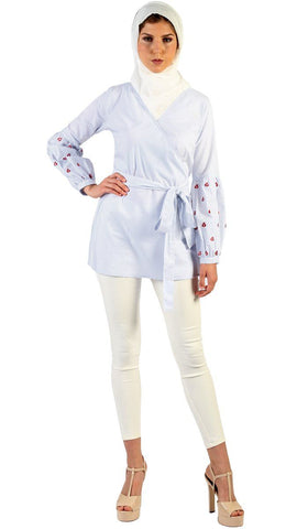 Lena Long Pin Stripe Embroidered Sleeve Tunic - Blue