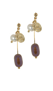 Lena Delicate MashAllah Arabic Earrings-Pearl