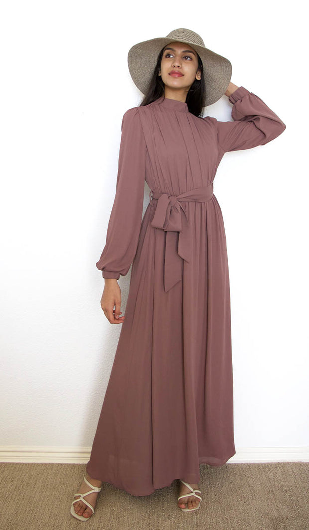 Leyla Modest Abaya Maxi Dress - Dusty Rose