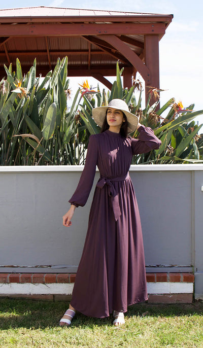 Leyla Modest Abaya Maxi Dress - Plum