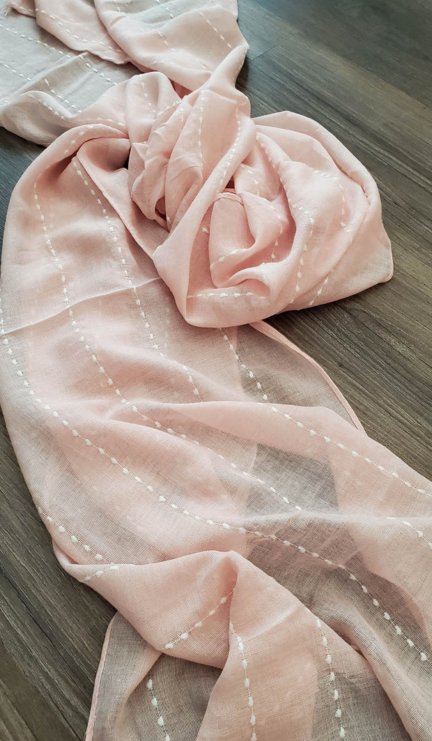 Light Wrap Hijab with White Stripes - Blush Pink