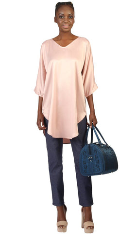 Lila Silky Satin Loose Formal Tunic - Dusty Pink
