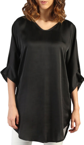 Lila Silky Satin Loose Formal Tunic - Black
