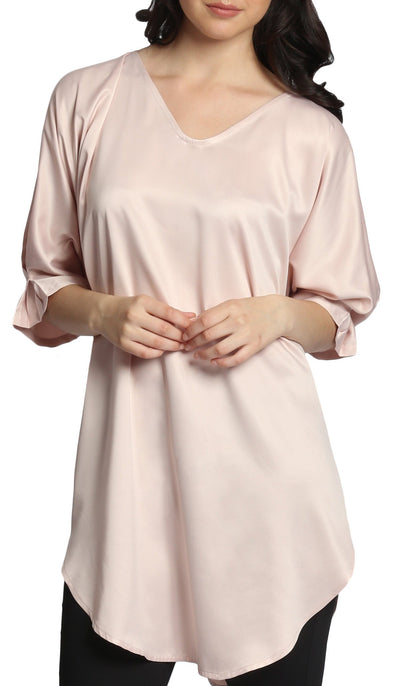 Lila Silky Satin Loose Formal Tunic - Blush Pink