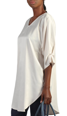 Lila Silky Satin Loose Formal Tunic - Cream