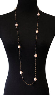Long Necklace with Baroque Pearls and Black Onyx
