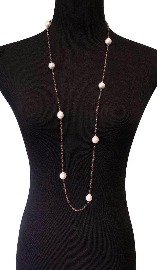 Long Necklace with Baroque Pearls and Rubies