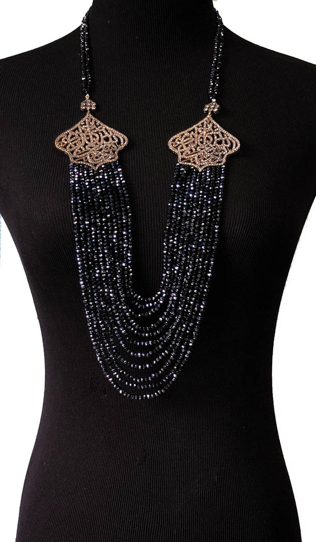 Long Multistrand Bismillah Turkish Artisan Necklace - Sapphire Blue