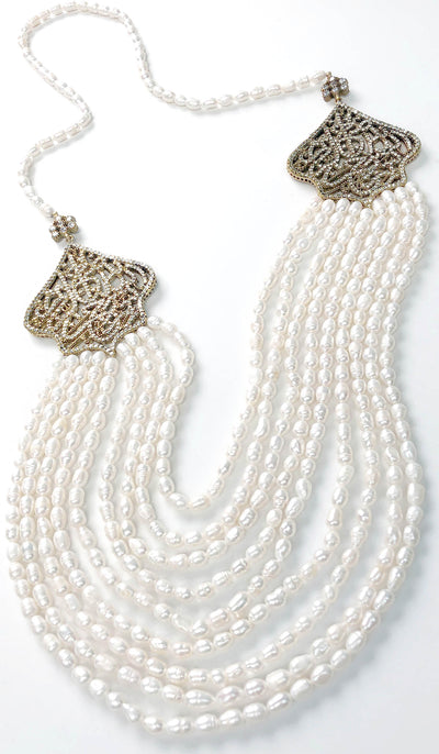 Long Multistrand Bismillah Turkish Artisan Necklace - Freshwater Pearl