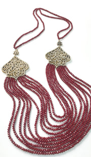 Long Multistrand Bismillah Turkish Artisan Necklace - Ruby Red