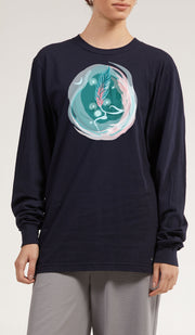 Long Sleeve Cotton T Shirt with Arabic Calligraphy - Hulm - Navy
