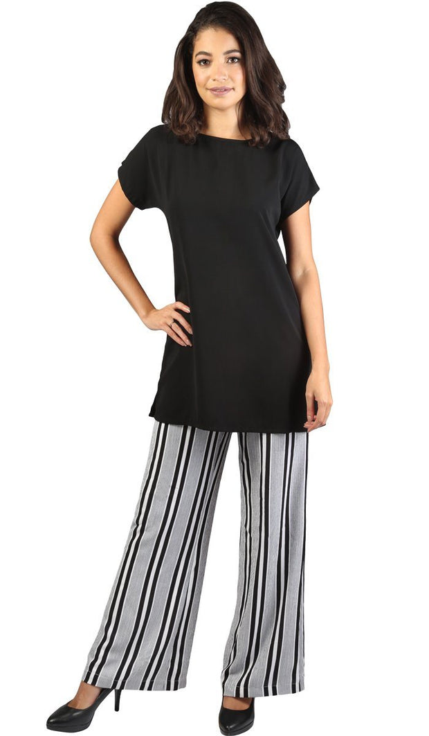 Long Two Way Short Sleeve Layering Top - Black