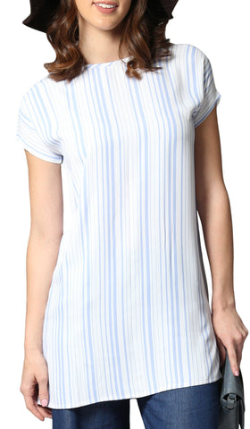Long Two Way Short Sleeve Layering Top - Blue & White Stripe