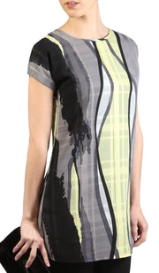 Long Two Way Short Sleeve Layering Top - Gray Black Print