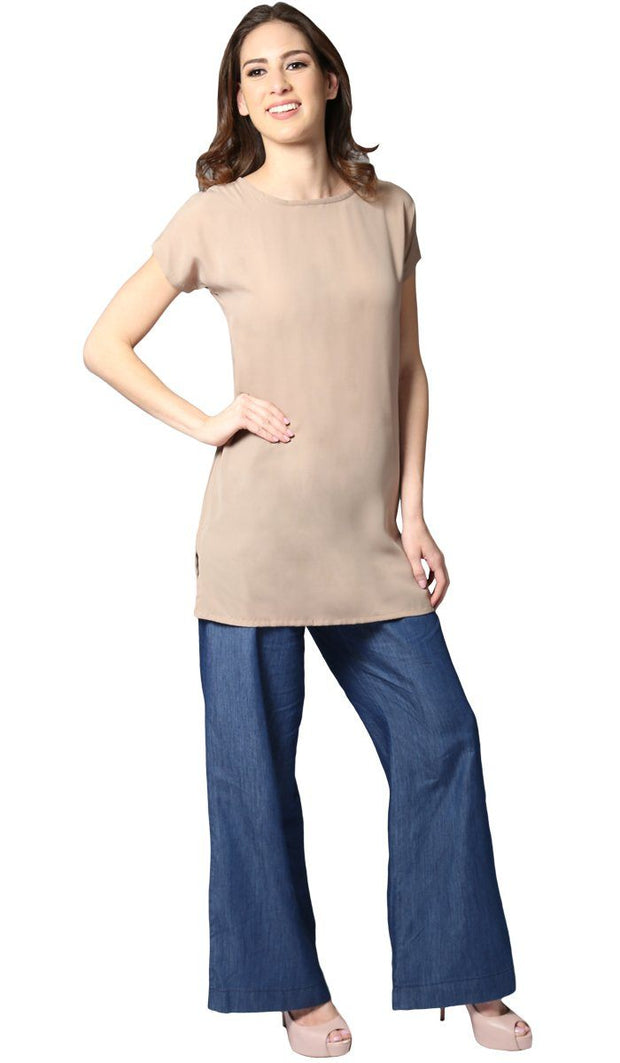 Long Two Way Short Sleeve Layering Top - Mocha Beige