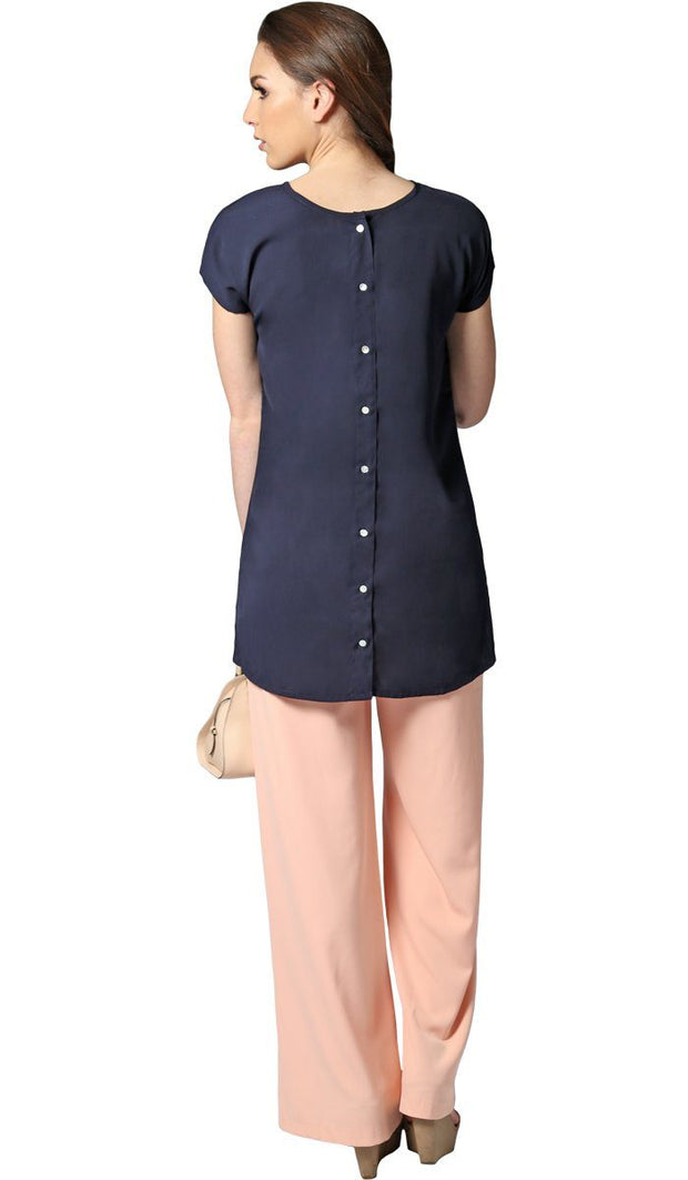 Long Two Way Short Sleeve Layering Top - Navy Blue