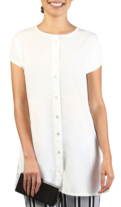 Long Two Way Short Sleeve Layering Top - Off White