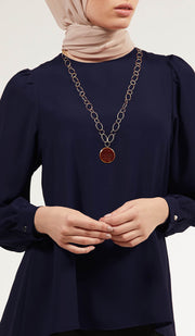 Luna Essential Layering Blouse - Navy