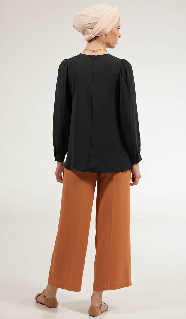 Luna Essential Layering Blouse - Black