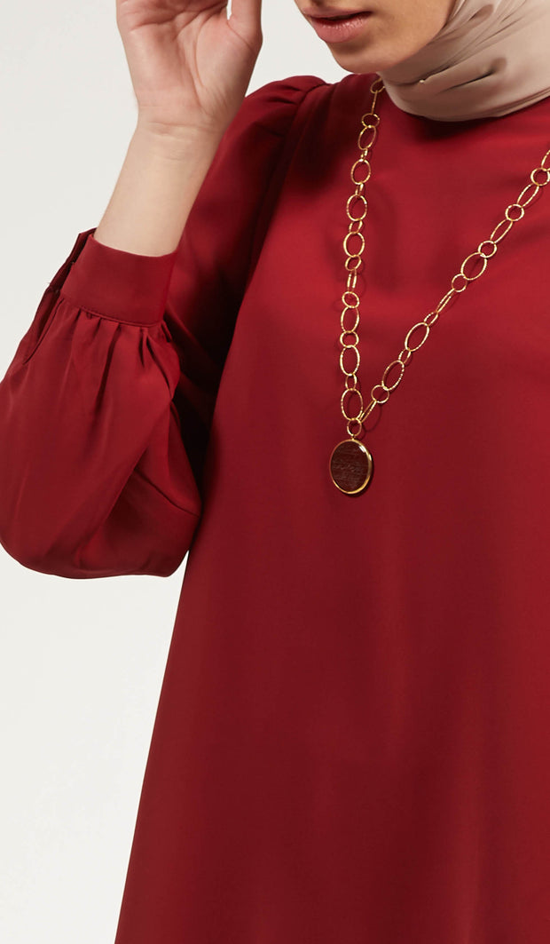 Luna Essential Layering Blouse - Maroon