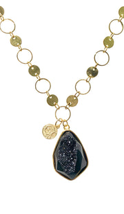 Lyla Contemporary MashAllah Arabic Necklace-Black Druzy