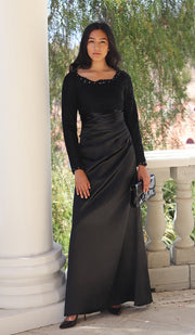 Maria Long Sleeve Silk Modest Formal Evening Dress - Black