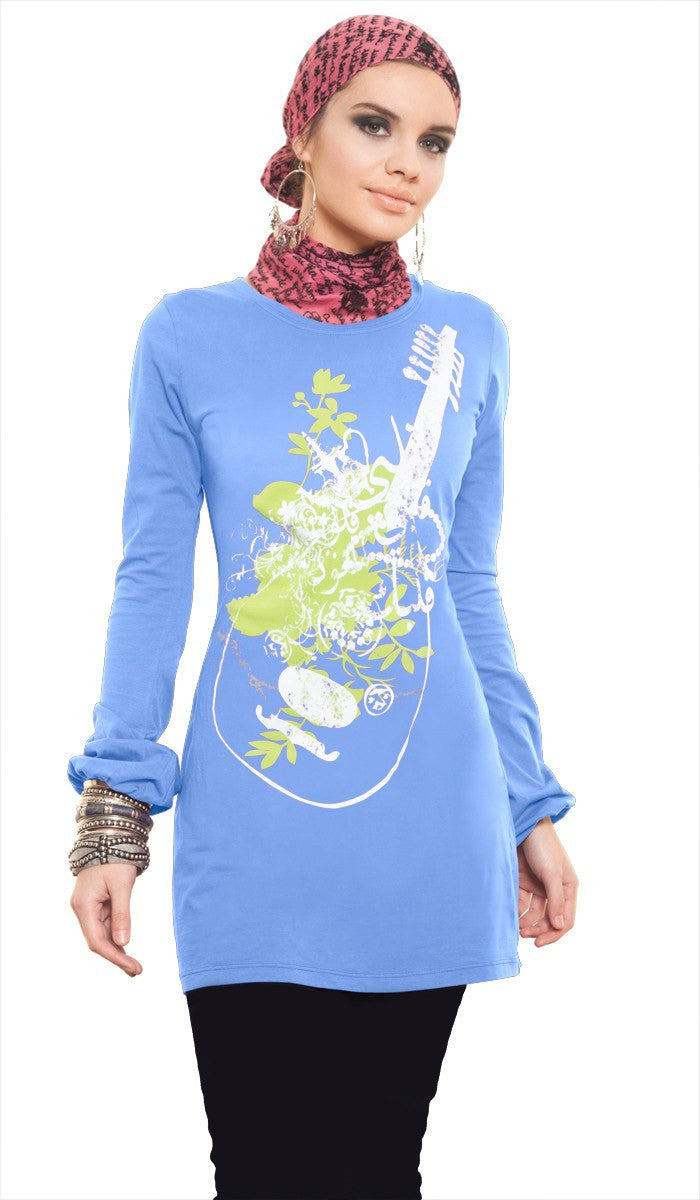 Music of the Heart Designer Islamic Tee - French Blue