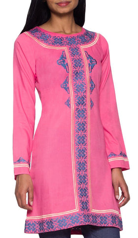 Maha Embroidered Long Modest Muslim Tunic - Pink
