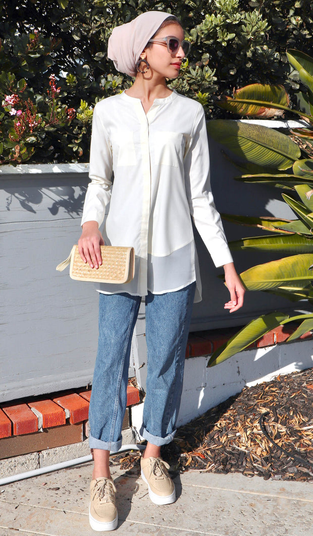 Maha Mostly Cotton Buttondown with Chiffon Trim - Cream