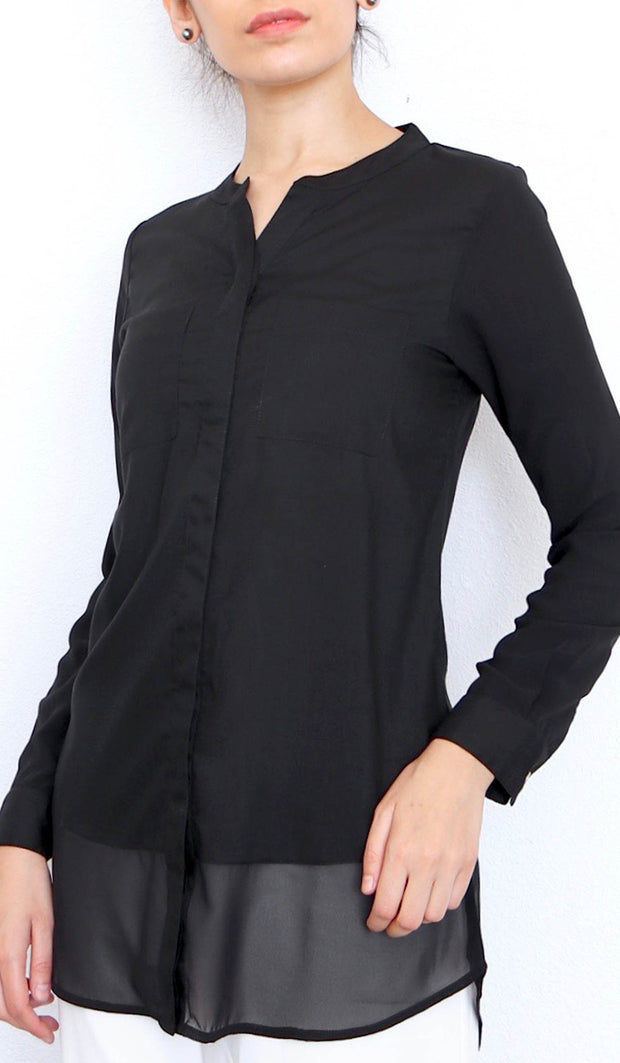 Maha Mostly Cotton Buttondown with Chiffon Trim - Black