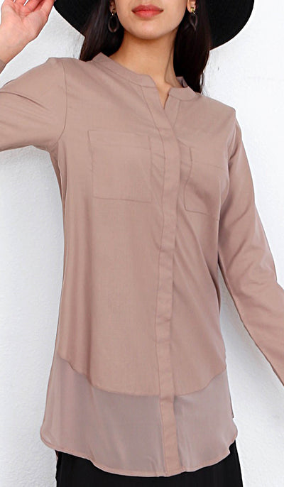 Maha Mostly Cotton Buttondown with Chiffon Trim - Mocha