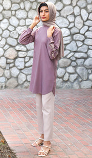 Maheen Embroidered Mostly Cotton Modest Tunic - Mauve