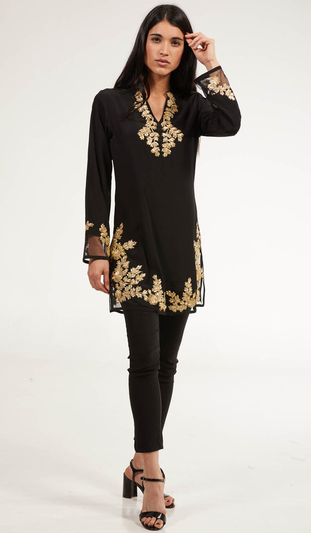 Mahnaz Gold Embellished Long Modest Tunic - Black