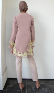 Mahnaz Gold Embellished Long Modest Tunic - Cafe